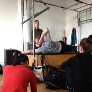 Irene and co-teacher Steven Fetherhuff demonstrating thoracic rotation.